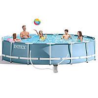 INTEX 28728 Бассейн каркасный круглый 457х84 см (видео,фильтр-насос 220В, лестница, тент, настил) , фото 1