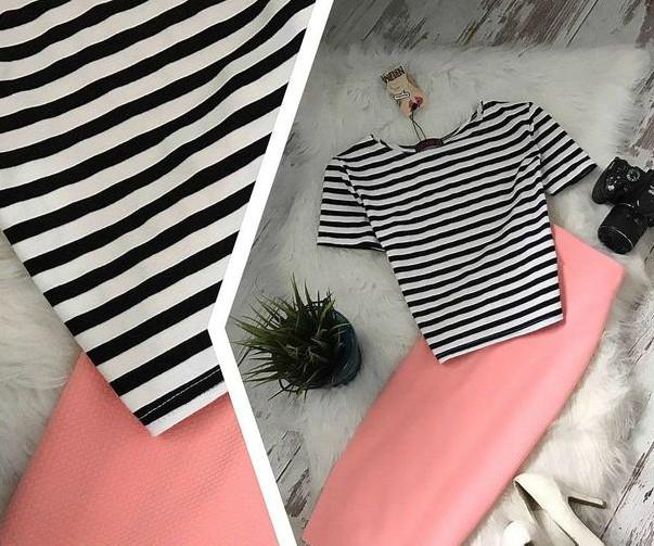Костюм: топ полоска с короткими рукавами + юбка-карандаш материал кукуруза персик