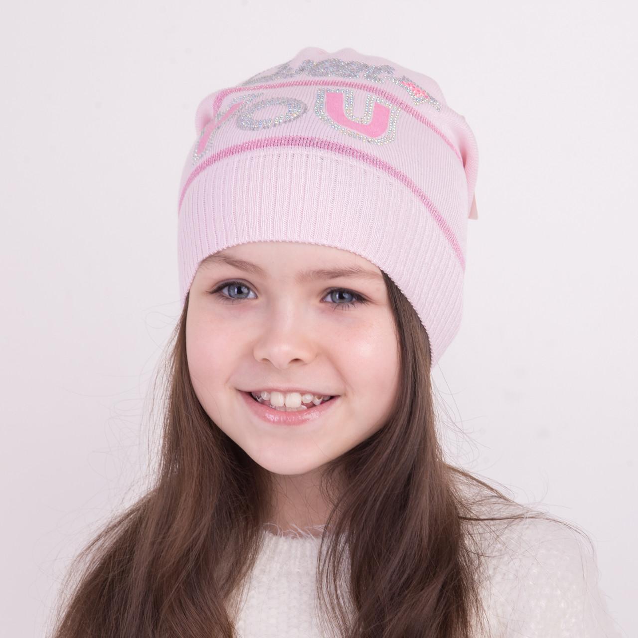 Вязанная шапка для девочек на весну - Арт 1270