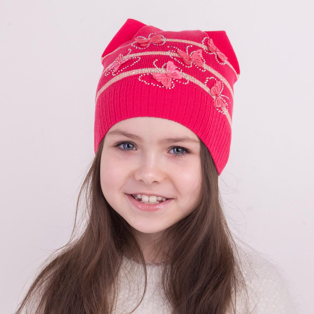 Весенняя вязанная шапка с ушками для девочек - Арт 1273