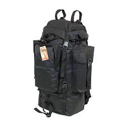 Туристический супер-крепкий тактический рюкзак 75 литров с Ортопедической спинкой чёрный
