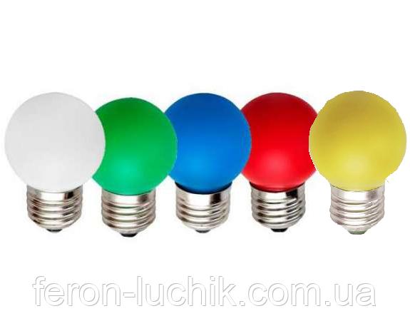 Світлодіодна лампа 1w 220v Е27 LED Feron LB-37 біла, кольорова
