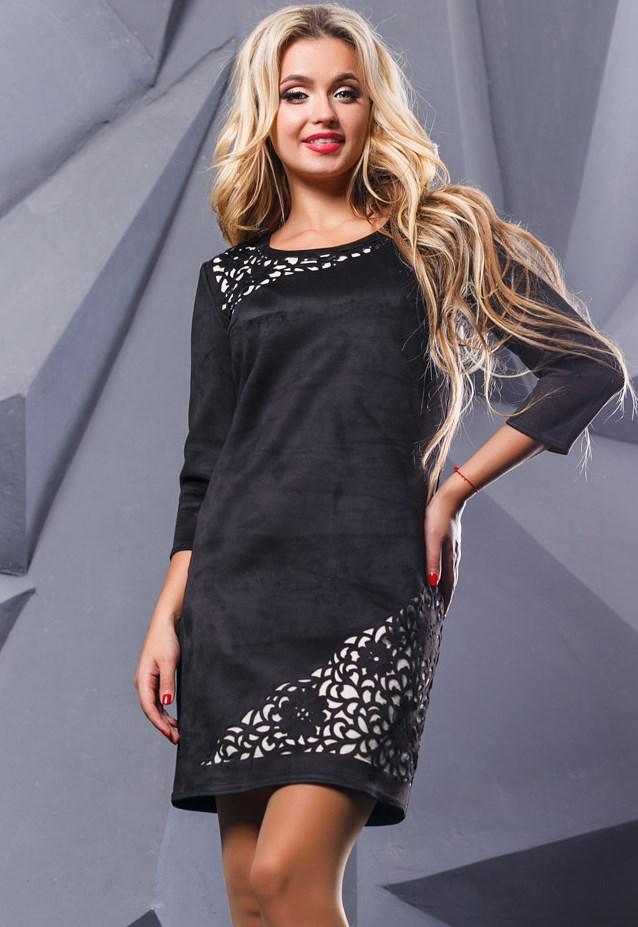 Замшевое черное платье с перфорацией Д-1063
