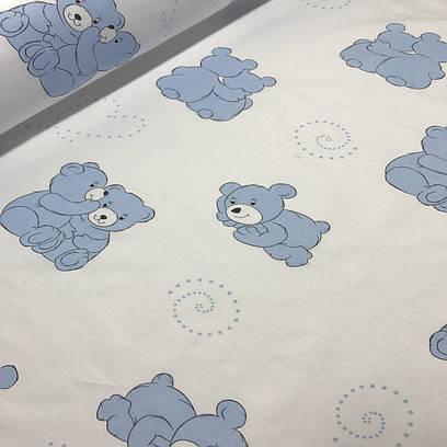Хлопковая бязь ЛЮКС мишки голубые на белом №45