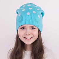 Брендовая шапка в горошек для девочек на весну - Арт 1290