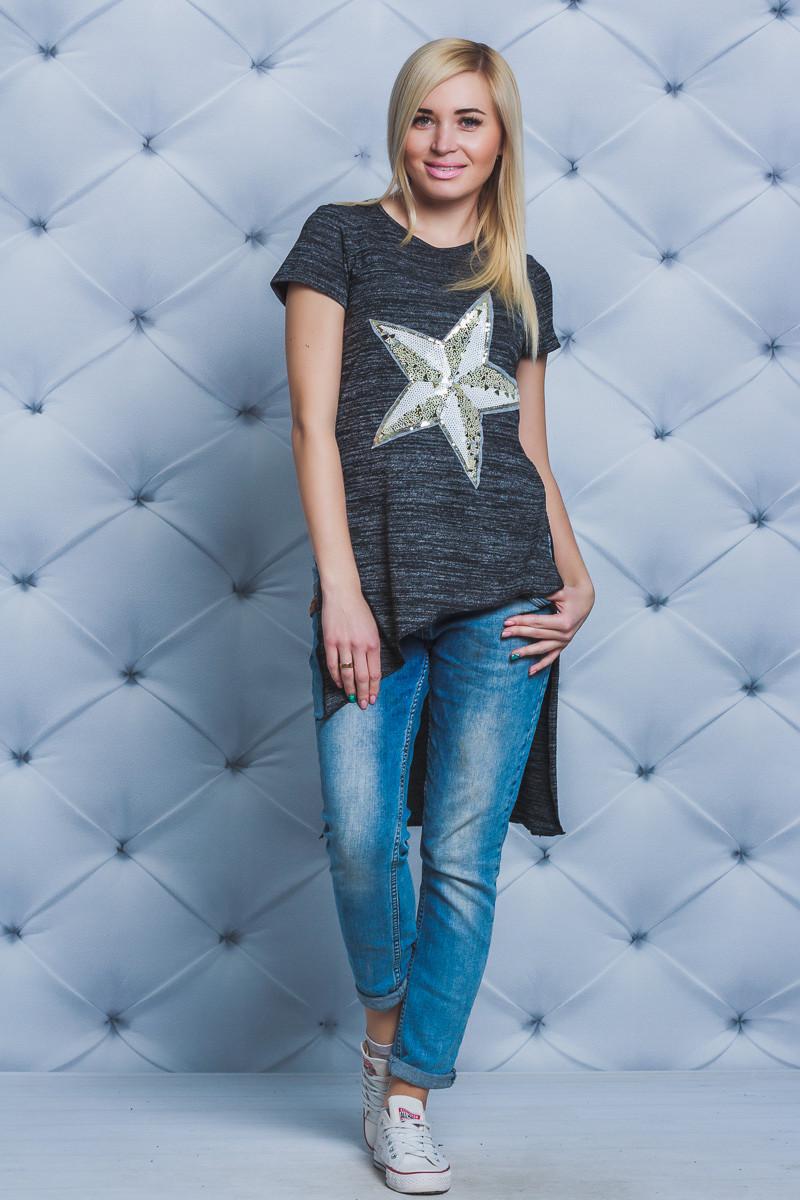 Стильная женская футболка темно-серая