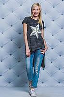 Стильная женская футболка темно-серая, фото 1