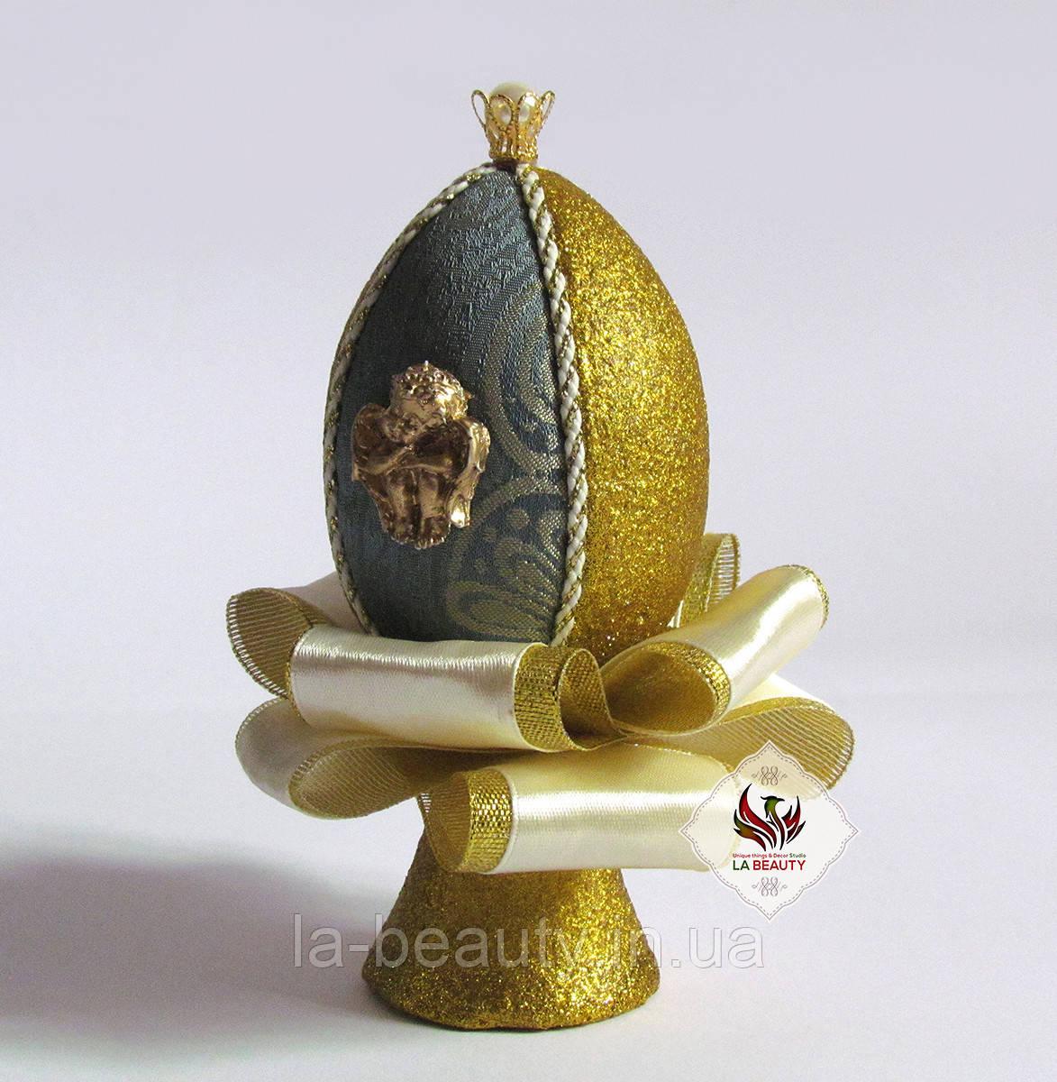 Декоративное яйцо Мята с золотом ручная работа (пасхальное)
