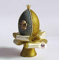 Декоративное яйцо Мята с золотом ручная работа (пасхальное), фото 1