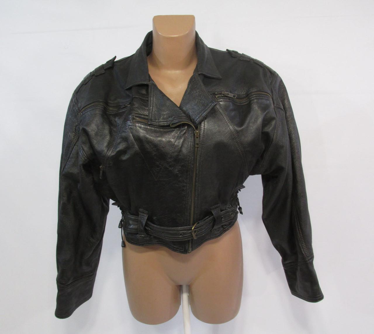Куртка косуха черная, короткая, Размер 1 (~M-L, 14-16), Кожаная, Отл сост!