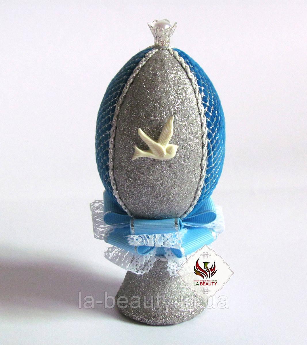 Декоративное яйцо Голубое серебро (пасхальное яйцо)