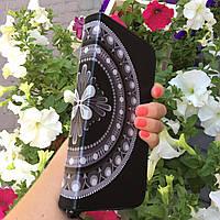 Женский кошелек (портмоне) из натуральной кожи с мандалой на деньги