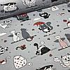 Хлопковая ткань польская коты серые и белые, с малиновыми зонтиками и малиновыми лапками на сером№39
