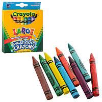 Восковые цветные смываемые мелки карандаши Large, в наборе 8 цветов, Crayola (крайола)