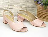 Женские босоножки на невысоком каблуке, цвет пудра, фото 2