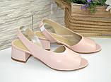 Женские босоножки на невысоком каблуке, цвет пудра, фото 4