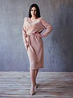 Кашемировое платье-реглан с декором «ПЕРЬЯ» и мгяким поясом