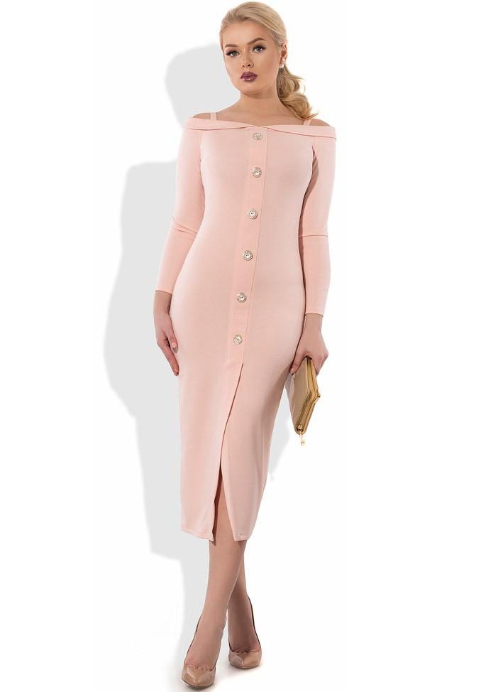 Розовое платье футляр миди Д-1065