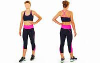Топ для фитнеса и йоги CO-163-1 (лайкра, M-L-40-48, черный-розовый)