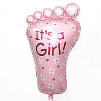 """Кулька фольгований рожевий на народження малюка """"Ніжка"""" 77*45 див."""