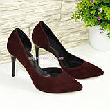 Женские замшевые бордовые туфли на шпильке, фото 3