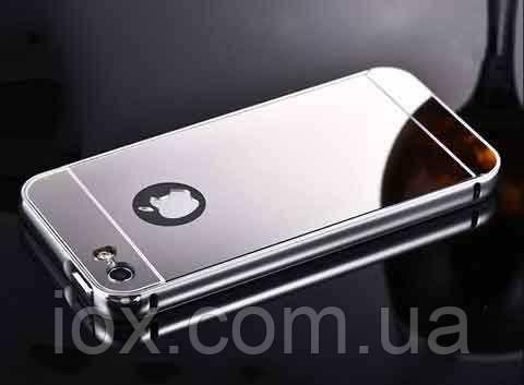 Cиликоновый зеркальный чехол для iphone 6 светлое серебро