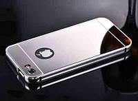 Cиликоновый зеркальный чехол для iphone 6 светлое серебро, фото 1