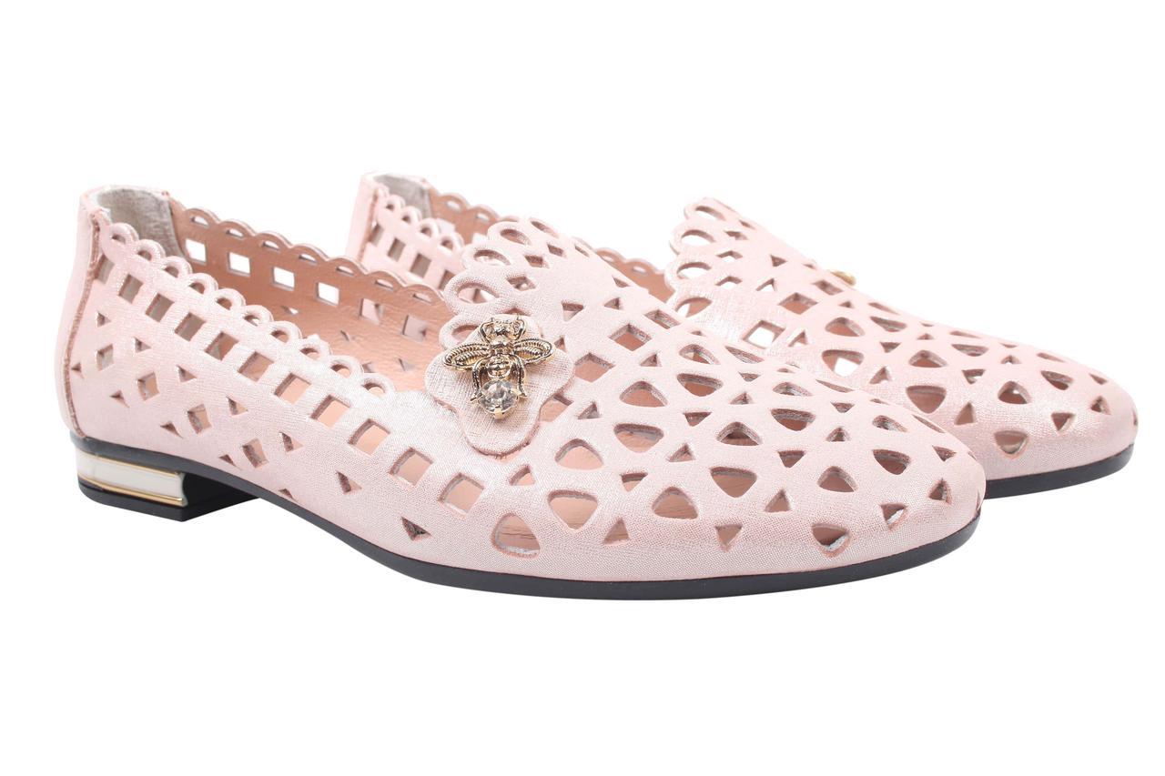 Туфли женские стильные Destino натуральная кожа, цвет пудра (каблук, лето, комфорт, Турция)