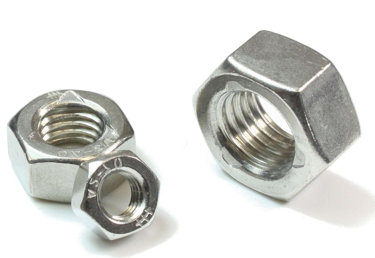 Гайка нержавеющая М1,2 DIN 934 (ГОСТ 5915-70, ГОСТ 5927-70) сталь А2 и А4