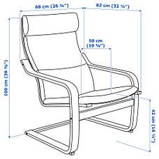 ПОЭНГ Кресло, березовый шпон, висланда черный/белый 49181221 IKEA, ИКЕА, POANG, фото 3