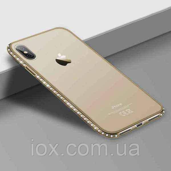 Золотистый силиконовый чехол с камушками Swarovski для iPhone X