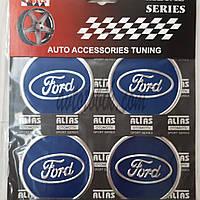 Наклейка эмблема на колпаки синяя Ford 60 мм (4 шт.)