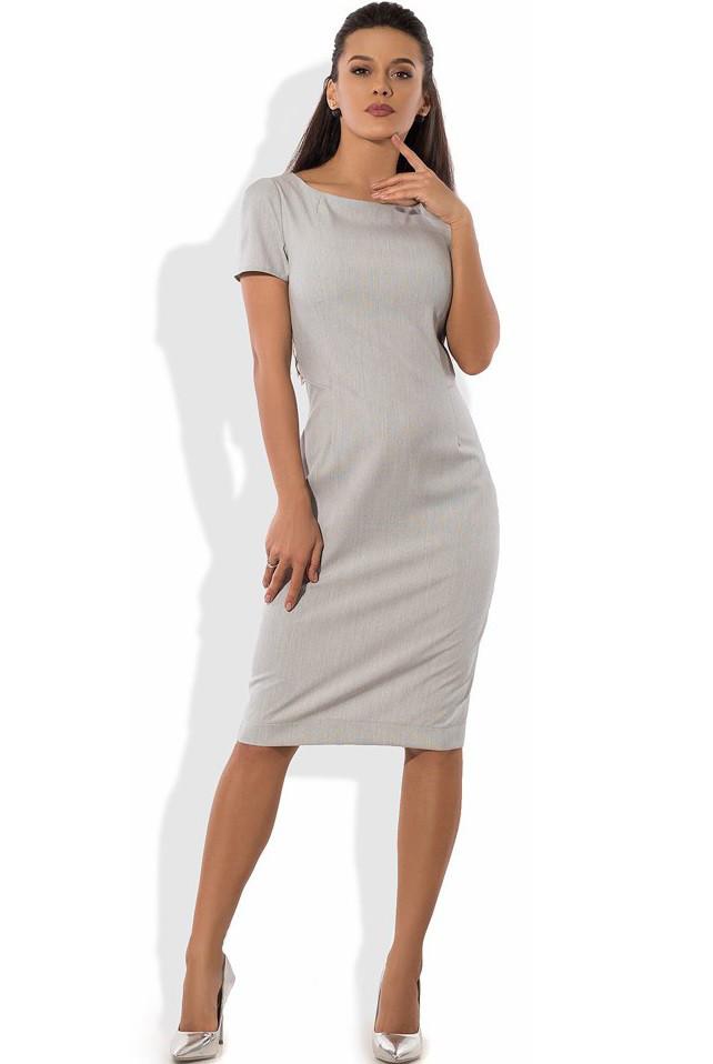 Деловое серое платье футляр Д-1067
