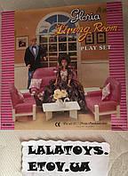 Мебель для кукол Gloria Глория 94014 Гостиная комната Барби, диван, кресла, журнальный стол, ваза, цветы