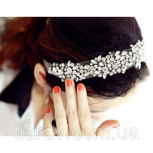 Повязка на голову украшение для волос ободок в камнях свадебное украшение