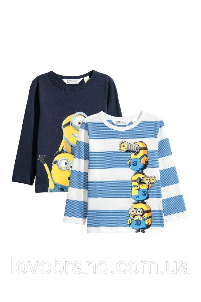 """Набор с 2-х регланов для мальчика """"миньйоны"""" H&M в синем и голубом цветах"""
