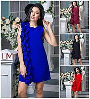 Платье Виша M,L,XL,XXL летнее нарядное батал большой размер синее бордо черное с воланами костюмка красное