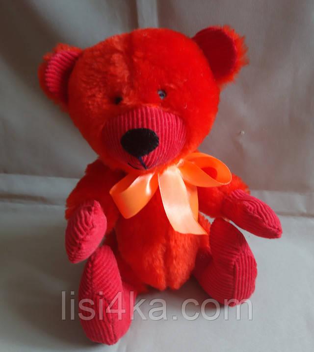 Интерьерный текстильный мишка ручной работы красного цвета
