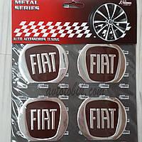 Наклейка эмблема на колпаки бордо Fiat 60 мм (4 шт.), фото 1