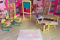 Мебель для кукол Gloria Глория 9916 Школа Барби, парты, стулья, доска, мел