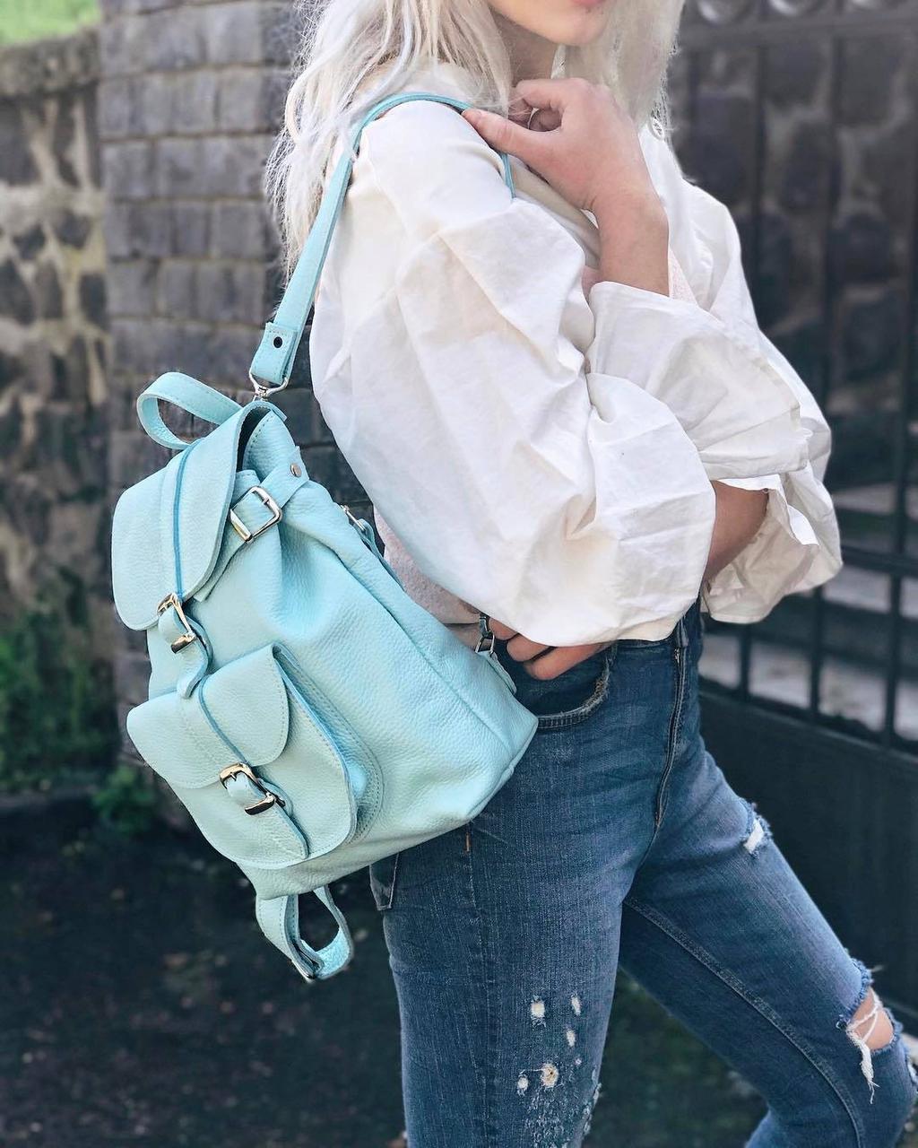 872933727550 Кожаный рюкзак женский со съемными ручками jizuz сlassic new aqua Jizuz