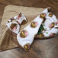 Бежевый кокон + конверт-плед + ортопедическая подушка, фото 1