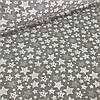 Хлопковая ткань польская звезды белые и серые с рисунками внутри разного размера на сером №35