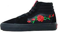 Мужские высокие кеды Vans Sk8 Roses Ванс черные с розами