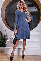 Удобное Трикотажное Платье Расширенного Кроя Электрик M-2XL, фото 1
