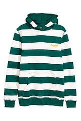 Толстовка для мальчика на флисе с капюшоном H&M в зелёном и белом цветах