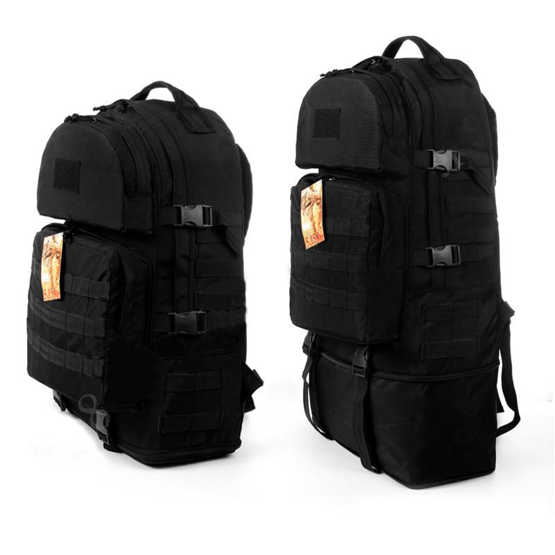 Тактический туристический супер-крепкий рюкзак трансформер 40-60 литров чёрный Кордура 500 ден 5.15.b
