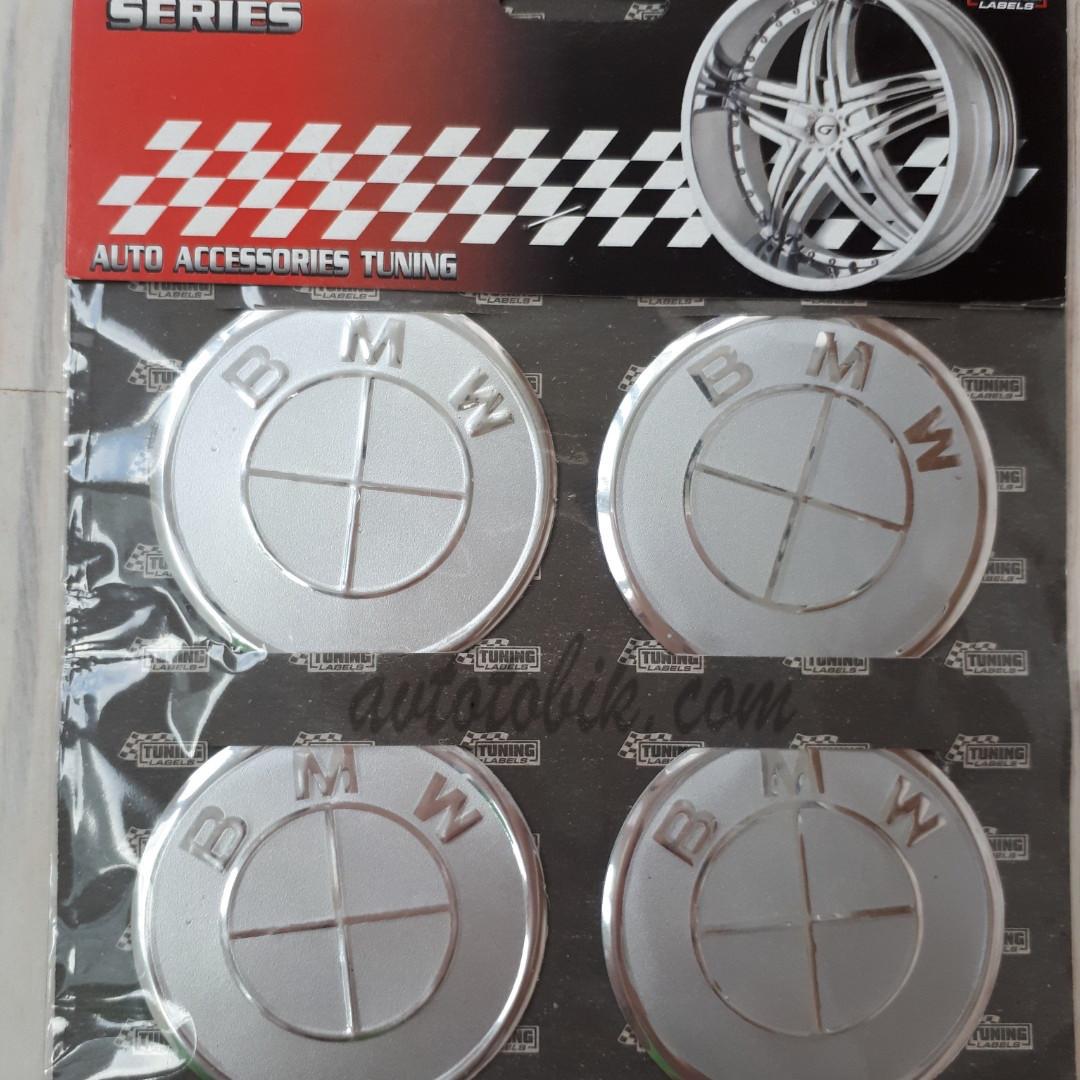 Наклейка эмблема на колпаки серая BMW 60 мм (4 шт.)
