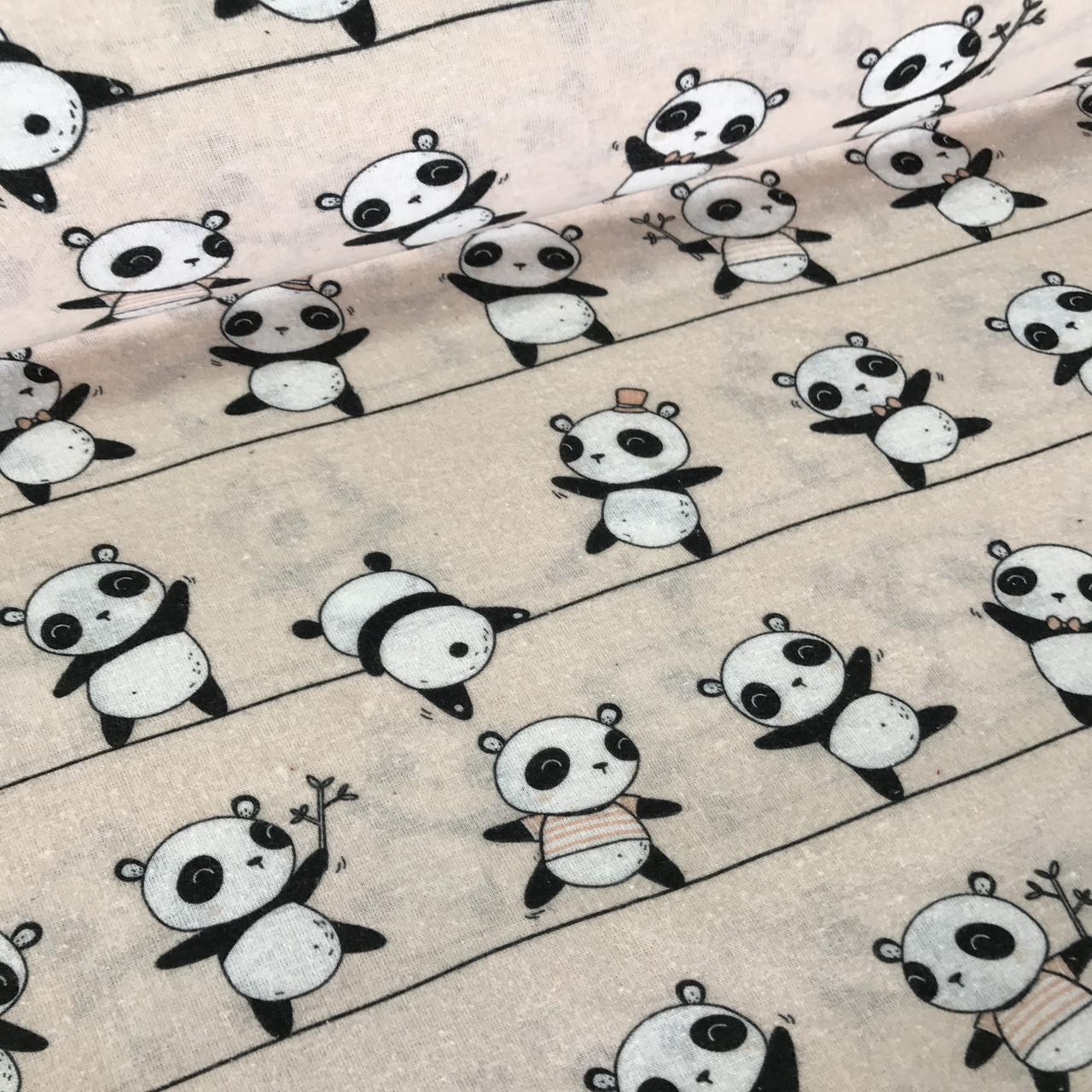 Фланель детская панды на полоске на пудровом