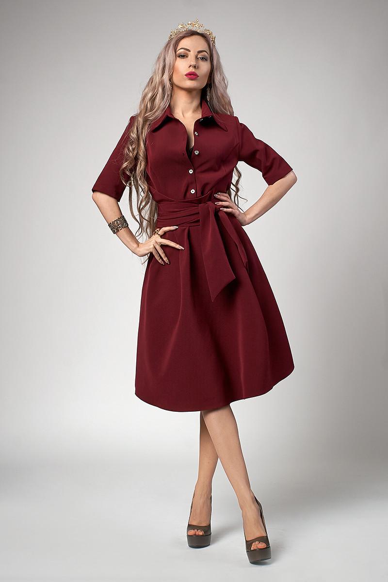 Модне плаття з цільнокроєним поясом бордове